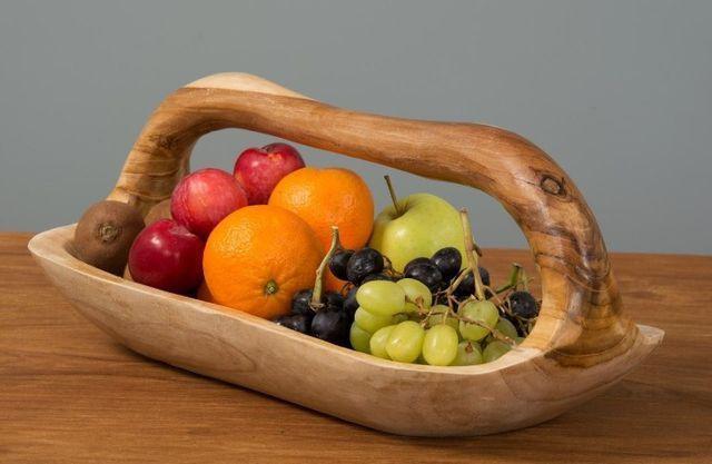 Gamelas fruteira de mesa em madeira rústica importada de