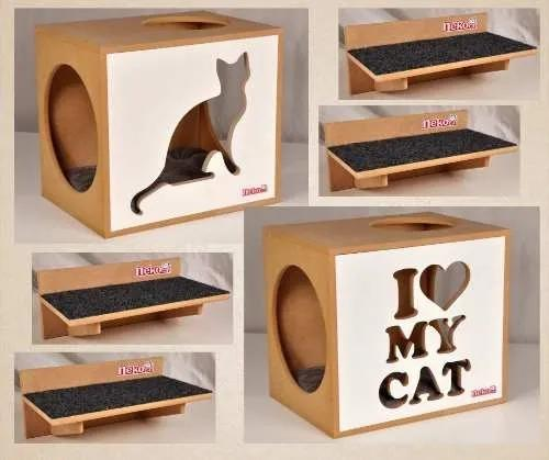 Kit 2 nichos gatos c/almofada +4 prat.c/carp. frente branca