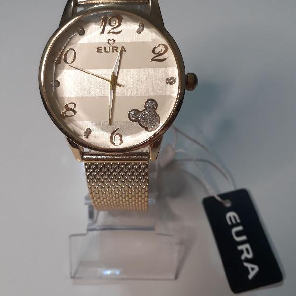 Relógio feminino dourado luxo eura novo com caixa