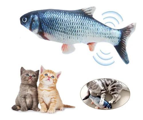 Simulação de carregamento usb peixe brinquedo gato