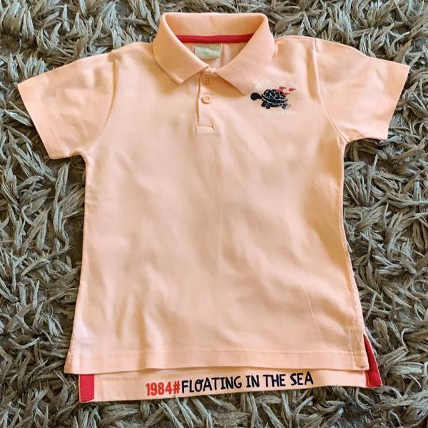 Camiseta polo salmão infantil - milton - colarinho - manga