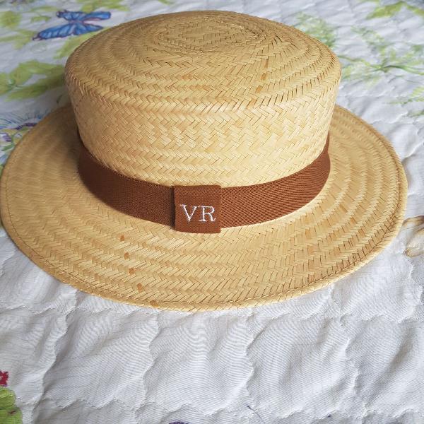 Chapéu de palha natural com aba média e faixa marrom