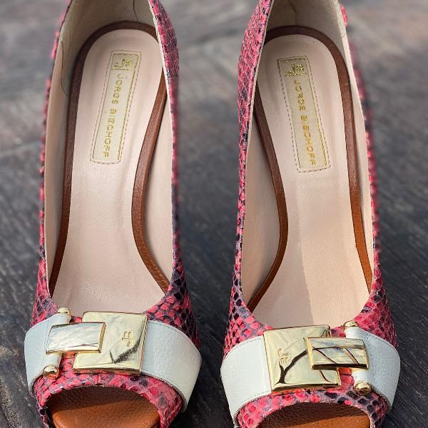 Peep toe print animal rosa jorge bischoff