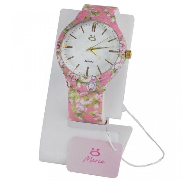 Relógio feminino analógico casual estampa floral