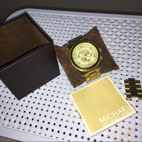 Relógio feminino michael kors 8096 dourado om caixinha