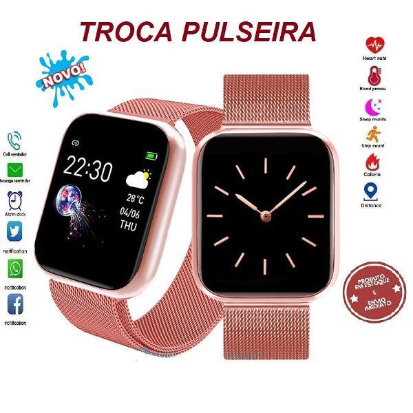 Relógio inteligente gold rosê smartwatch passos coração