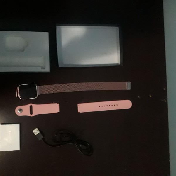 Relógio inteligente smartwatch p70 rosa, android e ios