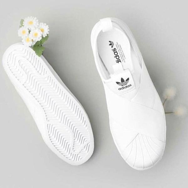 Tênis adidas slip on branco modelo 2019 feminino mega
