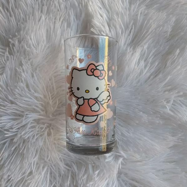 Copo de vidro da hello kitty