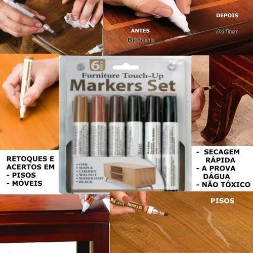 Jogo 6 caneta tira riscos piso móveis mdf marcenaria