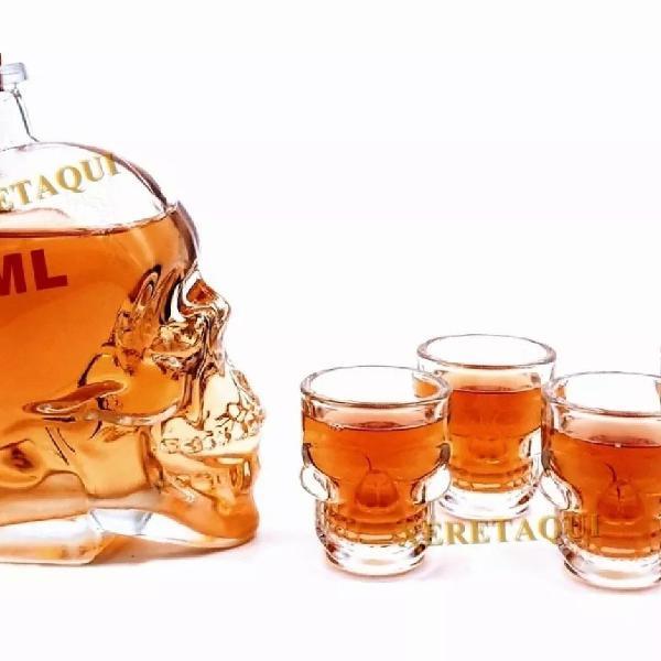 Kit 4 copo shot caveira + 1 garrafa vidro 450ml dose viking