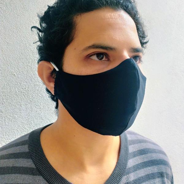 Kit c/3 máscaras de tecido algodão duplo anatômica