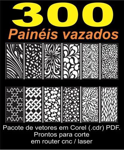 Painéis vazados - 300 vetores para corte, cnc - laser