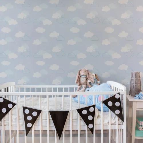 Papel de parede adesivo infantil céu e espaço nuvens azuis