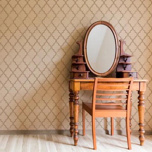 Papel de parede adesivo texturizado retrô arabesco dourado