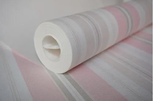 Papel de parede importado lavável listrado rosa cinza off