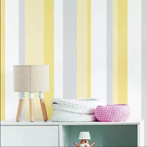Papel de parede listras infantil amarelo cinza adesivo 3mts