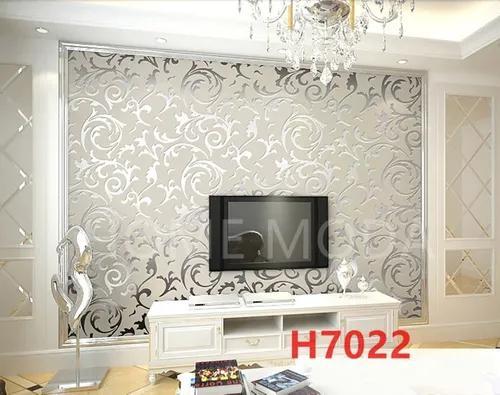 Papel de parede vinílico videira prata luxo sala quarto 10m