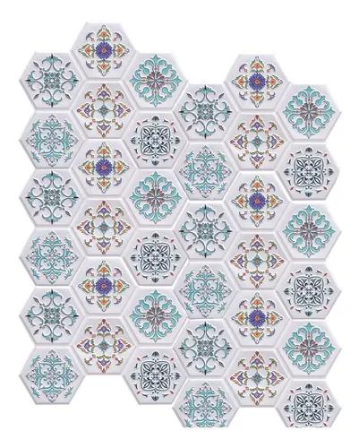 Placa 3d azulejo português pvc 32,5x37,5cm kit c/ 6