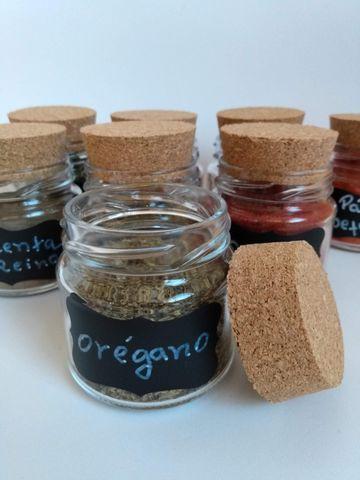 Potes para condimentos com lousa adesiva + caneta giz