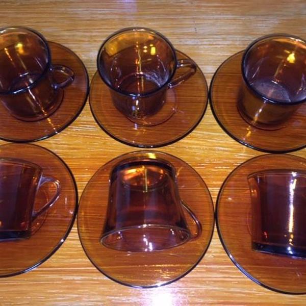 Jogo de chá duralex ambar transparente antigo