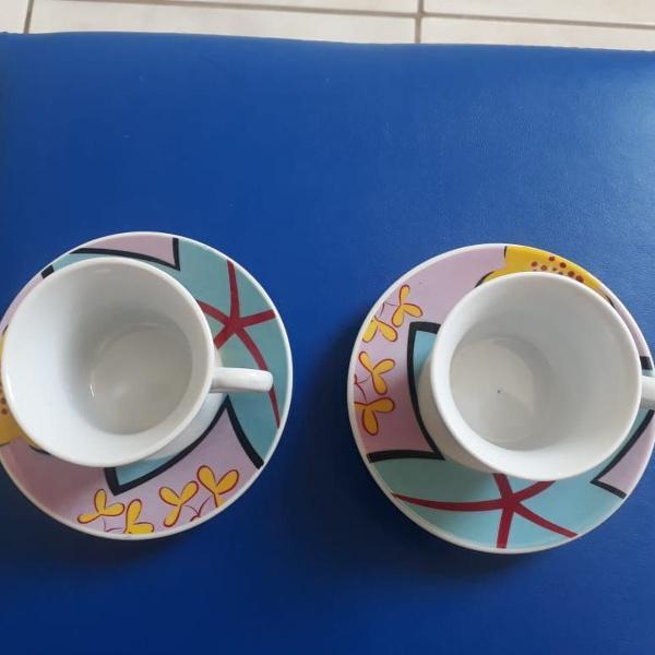 Jogo duas xícaras de chá porcelana decorada flores
