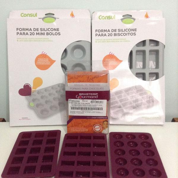 Kit com 5 formas de silicone diferentes modelos