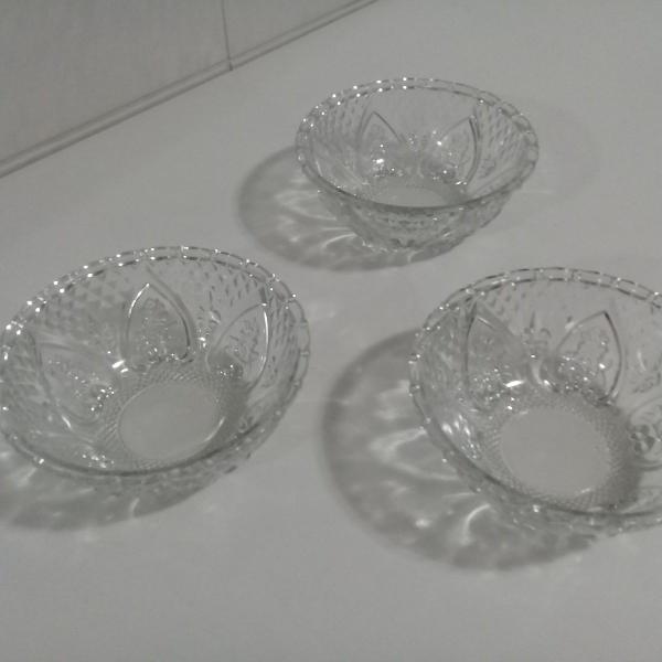Potes mini petisqueira cristal vidro coração (lote 3pçs)