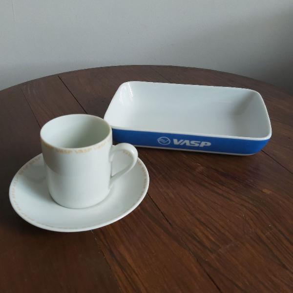 Xícara de café e prato vasp colecionadores