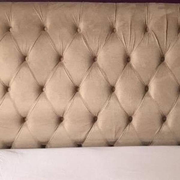 Cabeceira cama box suede marfim