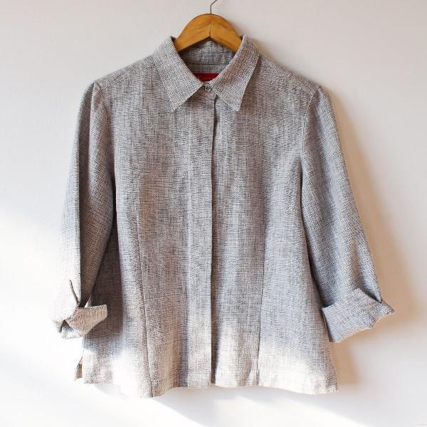 Camisa de linho estilo blazer anne klein