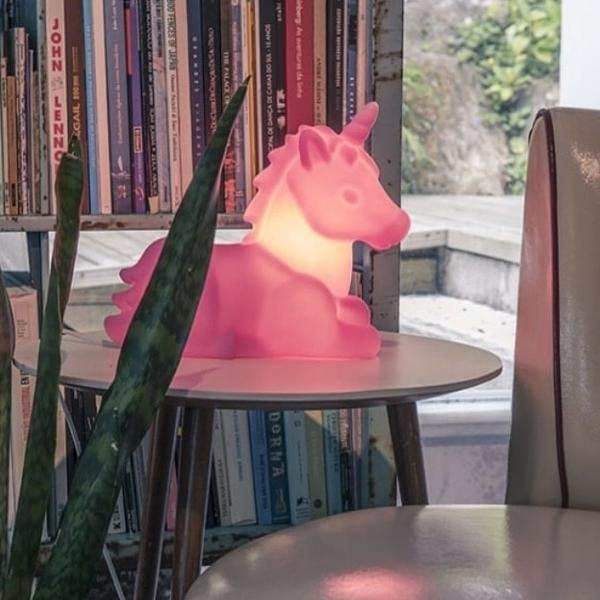 Luminária decorativa unicórnio rosa