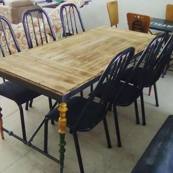 Mesa jantar modelo industrial 06 cadeiras