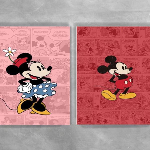 Quadrinhos minnie e mickey mouse decoração quarto infantil