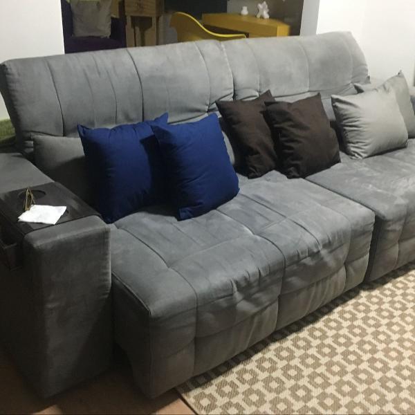Sofá cinza retrátil e reclinável century