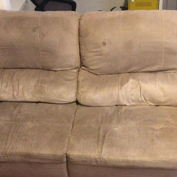 Sofá retrátil reclinável suede 3 pessoas