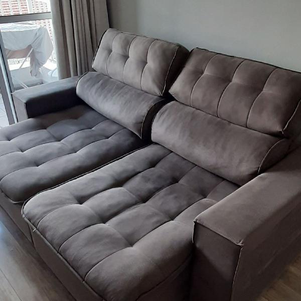 Sofá suede 2.10 mt. retrátil e reclinável