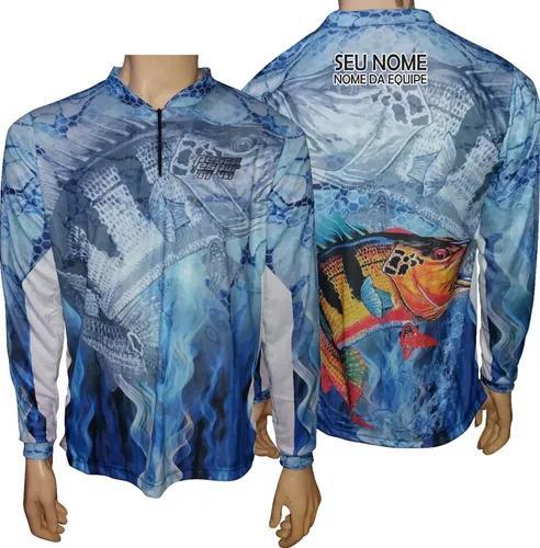 Camisa de pesca esportiva uv50 + bandana e nome gratis