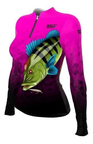 Camiseta mar negro proteção uv50 tucunaré rosa f