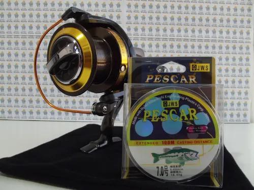 Kit 3x1 molinete gb 10000 pesca pesada 13 rol + linha + isca