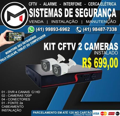 Kit cftv 2 câmeras hd instalado