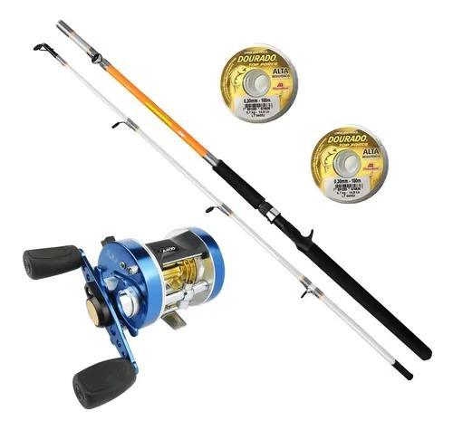 Kit pesca pesada carretilha caster 400 + vara 50lb + 2 linha