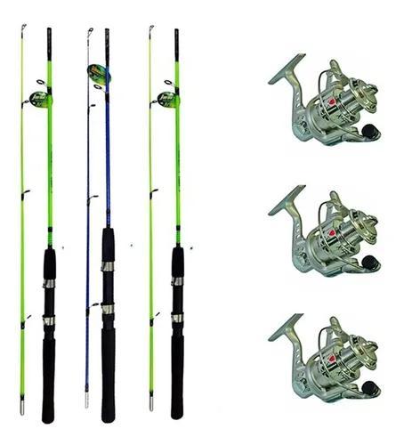 Kit pescaria leve 3 varas 1,20 m xingu + 3 molinete