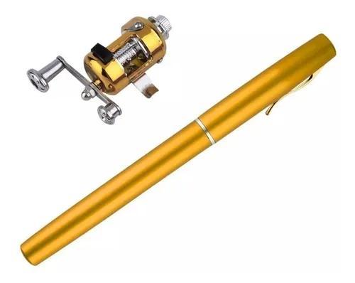 Mini vara de pesca telescópica caneta + micro carretilha!!