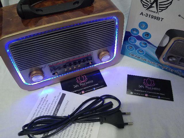 Rádio retrô bluethooth fm mp3