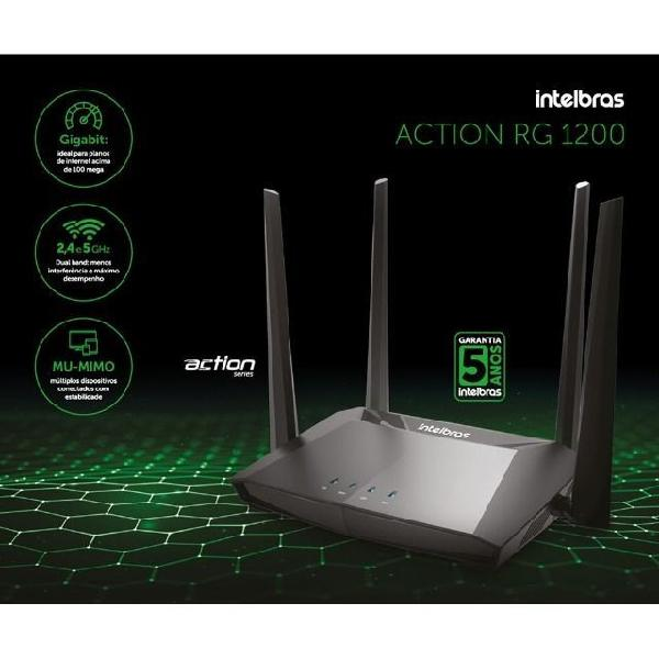Roteador wireless intelbras 1200mbps gigabit dual ac -