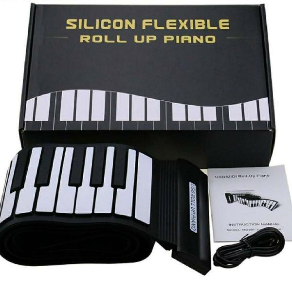 Teclado flexível de silicone midi enrole piano eletrônico