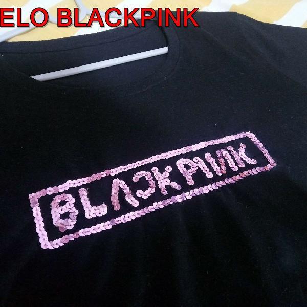 Camiseta nova logo blackpink paetes 100% algodão artesanal