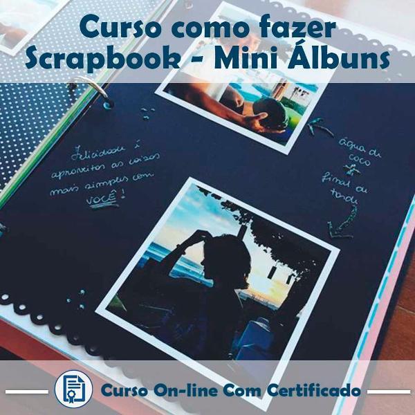 Curso online em videoaula de como fazer scrapbook - mini