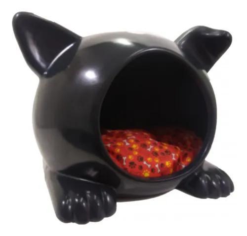 Cama toca casa plástica cães ideal dog grande preta ver